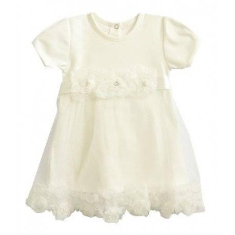 Платье Ажур с коротким рукавом, молочное