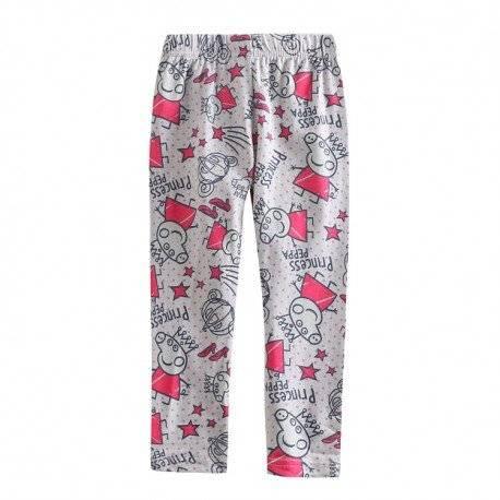 Лосины, брюки для девочки, серые «Princess Peppa»