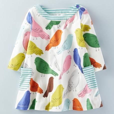 Платье для девочки «Птички», белое