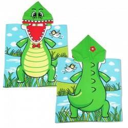 Полотенце пончо, Динозавр. 60*60 см. Микрофибра.