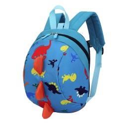 Детский рюкзак, голубой. Динозавр.