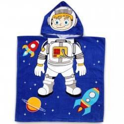 Полотенце пончо для мальчика. Космонавт. 60*60 см. Хлопок.