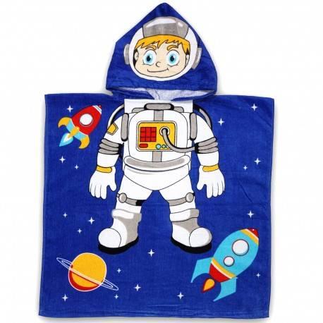 Полотенце пончо, космонавт с ракетой