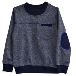 Джемпер для мальчика, с карманом, синий.