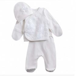 Нарядный комплект для новорожденных. Молочный.