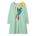 Платье для девочки, зеленое. Папугай.