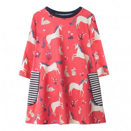 Платье для девочки, коралл. Единорог.