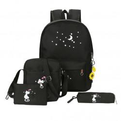 Рюкзак школьный, черный. Кошки. Набор: пенал, сумка, рюкзак.