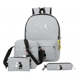 Рюкзак школьный, серый. Кошки. Набор: пенал, сумка, рюкзак.