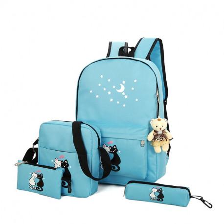 Рюкзак школьный, синий. Кошки. Набор: пенал, сумка, рюкзак.
