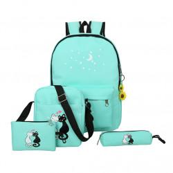 Рюкзак школьный, мятный. Кошки. Набор: пенал, сумка, рюкзак.