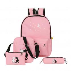 Рюкзак школьный, розовый. Кошки. Набор: пенал, сумка, рюкзак.