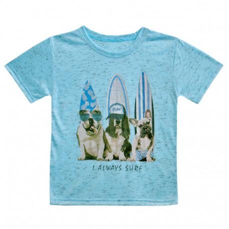 Футболка для мальчика, голубая. Серфинг.