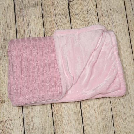 Плед детский, двухсторонний. Розовый. Вязка и махра. Soft.