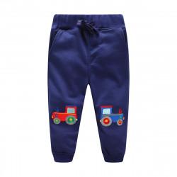 Детские штаны, синие. Трактор.