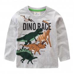 Кофта для мальчика, серая. Dinosaur family.