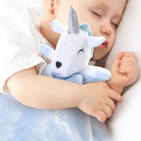 Плед детский, голубой, с игрушкой. Unicorn