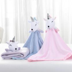 Плед детский, фиолетовый с игрушкой. Unicorn