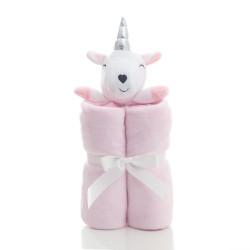 Плед детский, розовый с игрушкой. Unicorn