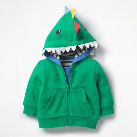 Кофта с капюшоном для мальчика, зеленая. Акула.