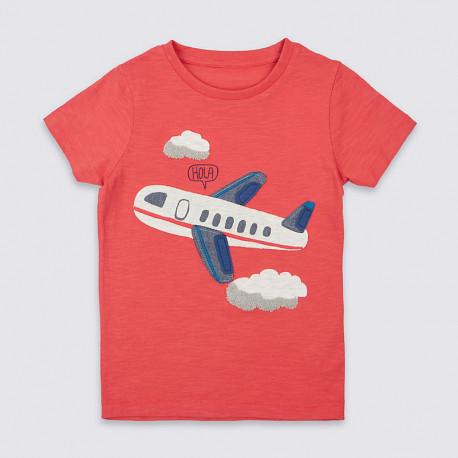 Футболка для мальчика, оранжевая. Самолет