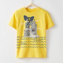 Футболка для мальчика, желтая. Замок дракона.