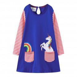 Платье для девочки, синее. Единорог. JM210