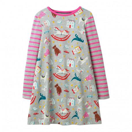 Платье для девочки, серое. Игрушки.