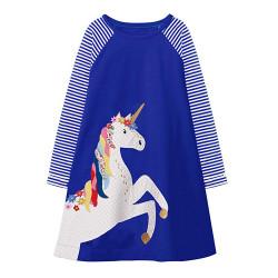 Платье для девочки, синее. Единорог.
