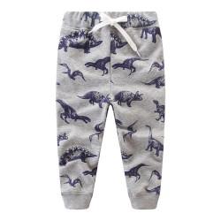 Штаны для мальчика, серые. Динозавр