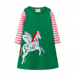 Платье для девочки, зеленое. Единорог.