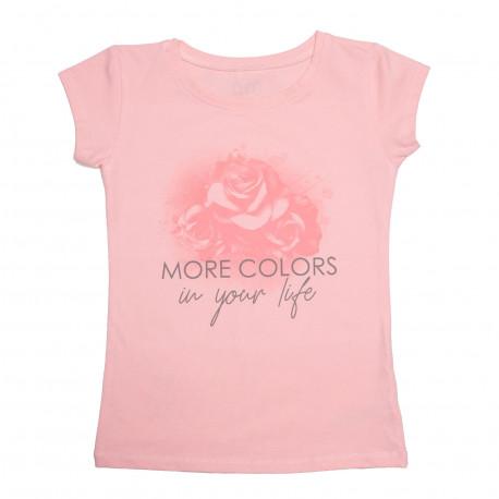 Футболка для девочки, розовая. Роза.