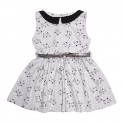 Платье для девочки, серое с черным. Котики.
