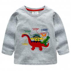 Кофта для мальчика, серая. Динозавры.