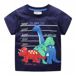 Футболка для мальчика, синяя. Динозавры.