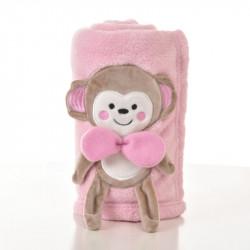 Плед детский, розовый. 75*100. Обезьянка.