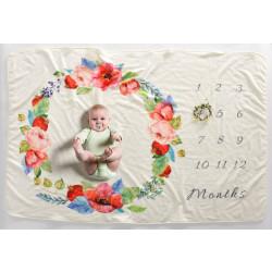 Детское одеяло, ростомер. Молочное 102*152 см. Маки.