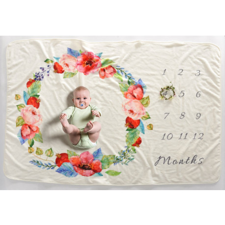 Одеяло ростомер, для новорожденных. 102*152 см. Маки.