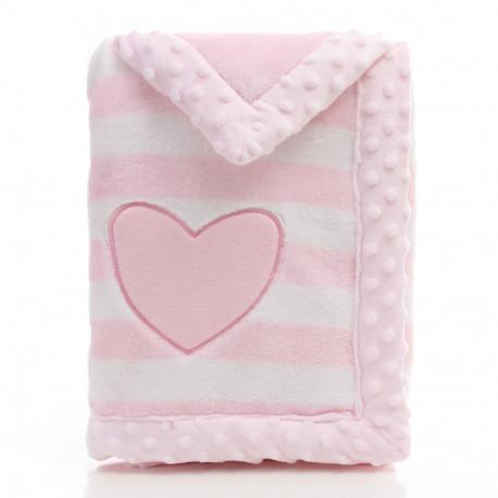 Плед детский, розовый. 75*100 см. Сердце.
