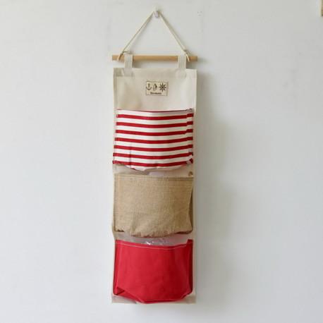 Подвесной органайзер, красный. 3 кармана. Мозаика.