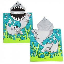 Детское полотенце, пончо. Акула. 60*60 микрофибра.