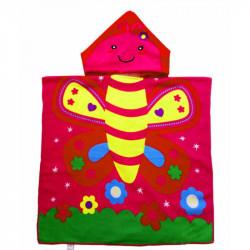 Детское полотенце, пончо, малиновое. Бабочка.