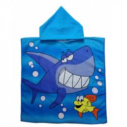 Детское полотенце, пончо, голубое. Акула.