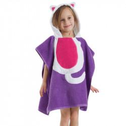 Полотенце махровое, для девочки, фиолетовое. Кошка.