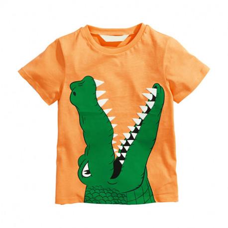 Футболка для мальчика, оранжевая. Крокодил.