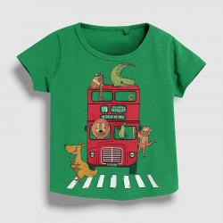 Футболка для мальчика, зеленая. Автобус.