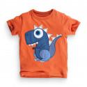 Футболка для мальчика, оранжевая. Динозавр.