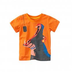Футболка для мальчика, оранжевая. Бегемотик.