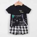 Костюм для мальчика, футболка и шорты. Кот.