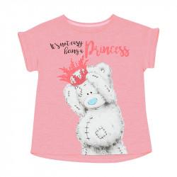 Футболка для девочки, розовая. Медвежонок.